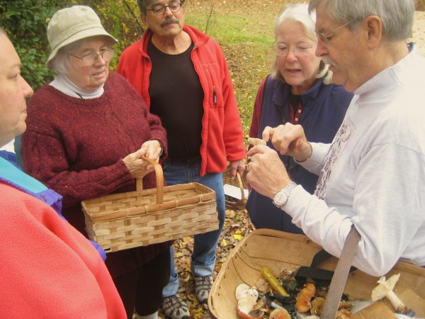 George Davis, right, explains a mushroom to a small group of people with him on the mushroom walk.