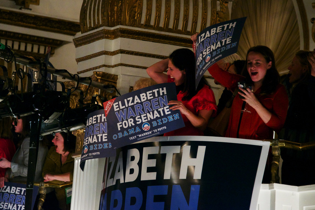 Image: Elizabeth Warren supporters react to the announcement that Warren won the Massachusetts senate seat on Tuesday night in Boston. Warren was elected the first woman senator in the state of Massachusetts. (BU News Service Photo by Cat Ring.)