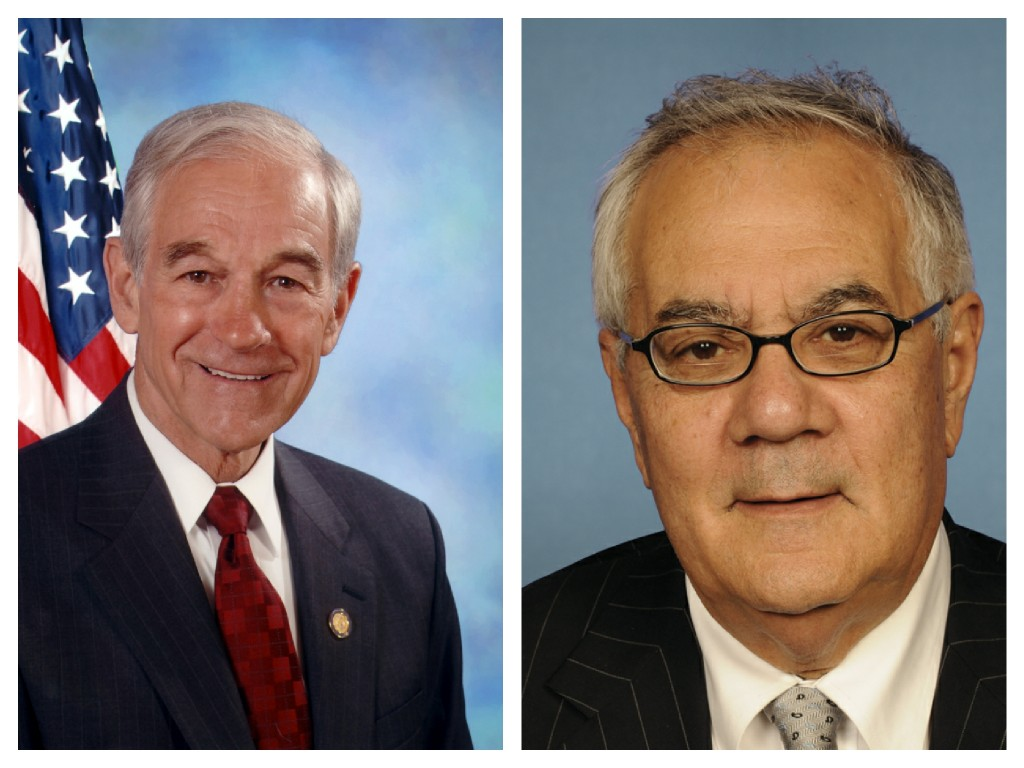 Image: Reps. Ron Paul, R-Texas, left, and Barney Frank, D-Mass.