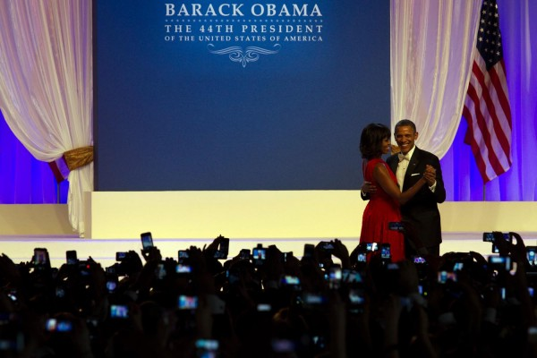 President Obama and first lady Michelle Obama dance during The Inaugural Ball at Washington Convention Center, Washington, D.C., during the 57th Presidential Inauguration. (Photo by Micaela Bedell/BU News Service)