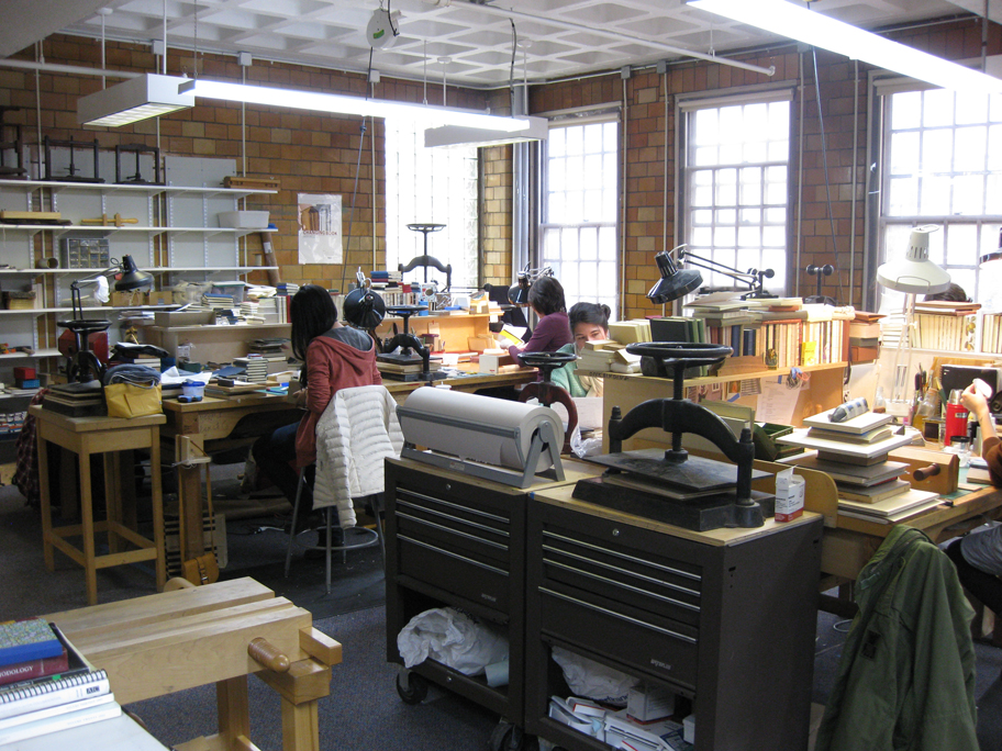Workspace for the bookbinding program at the North Bennett Street School