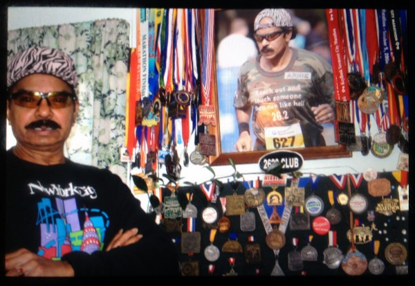 Arnie James recounts what it was like to near the finish of the marathon and be plunged into chaos. (Selin Thomas/BU News Service)