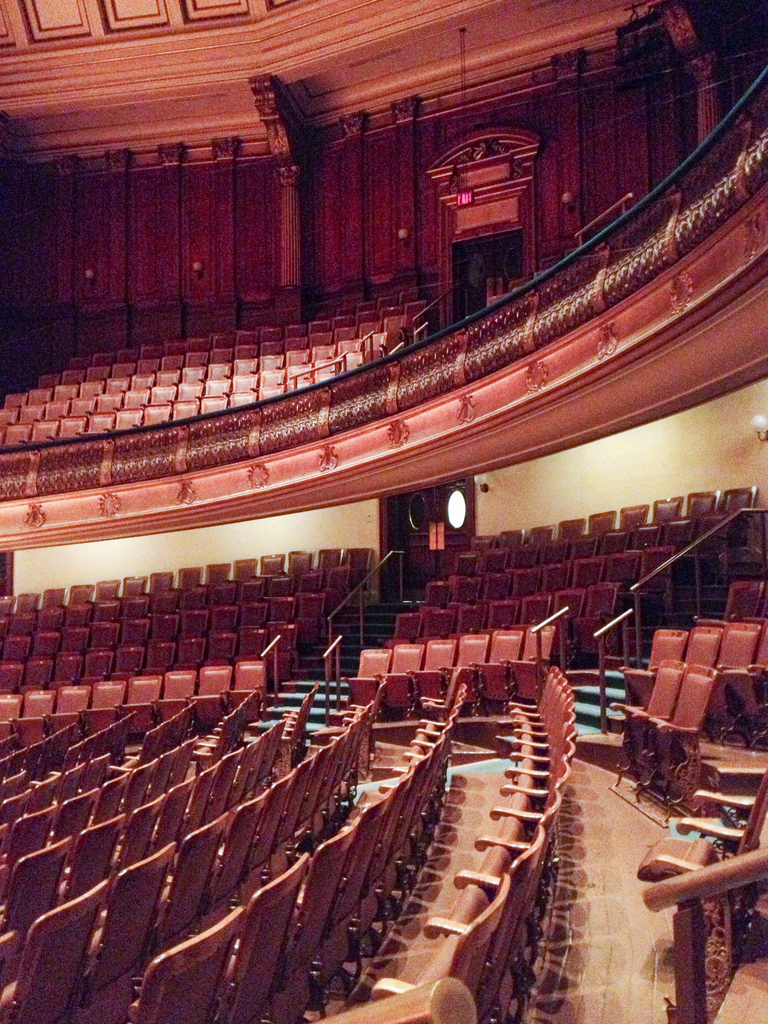March 29, 2013 -- Seats curve around Jordan Hall, making the space feel small and intimate. Photo by Poncie Rutsch