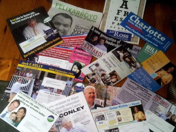A sampling of campaign literature sent to Boston area voters.