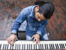 "IMAGE: October 4, 2013 CAMBRIDGE -- Fabio Tedde plays a public piano in Harvard Square on Friday afternoon. There are 75 pianos around Boston for Luke Jerram's ""Play Me, I'm Yours"" exhibit, which has put temporary street pianos in over thirty cities in the past five years. Tedde, an Italian street performer, follows the piano exhibits and tries to play them all -- this his 37th in Boston and his 433rd worldwide. (Photo by Poncie Rutsch.)"