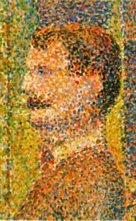 "Painting detail from Georges Seurat's ""La Parade de Cirque."""