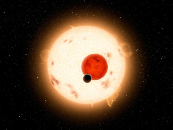 Artist's conception of exoplanet Kepler-16b. Image courtesy NASA/JPL-Caltech/R. Hurt.