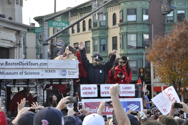 "The ""Red Sox bullpen cop,"" Steve Horgan, took his signature pose during the parade. (Photo by Dana Hatic)"