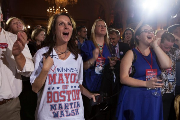 November, 5, 2013, BOSTON- Pamela Carver (left), a scheduler for Martin Walsh, reacts after Walsh is elected as the mayor of Boston.(KIva Kuan Liu/BU News Service)