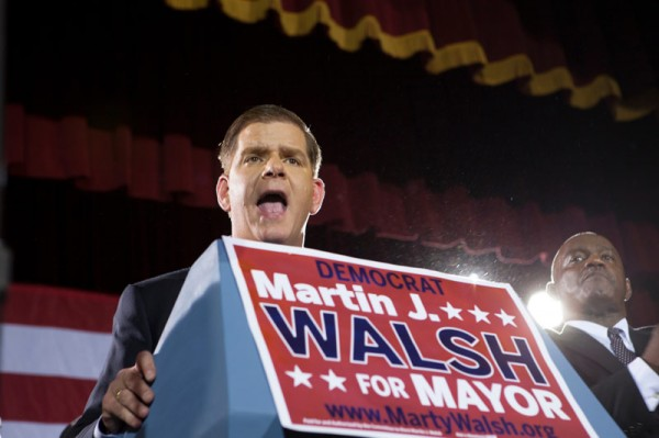November, 5, 2013, BOSTON- Martin Walsh speaks to his supporters at the Boston Park Hotel Plaza after he is elected as the mayor of Boston.(KIva Kuan Liu/BU News Service)