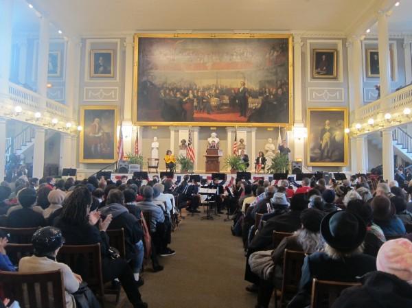 MLK Celebration at Faneuil Hall (BU News Service/Mikaela Lefrak)