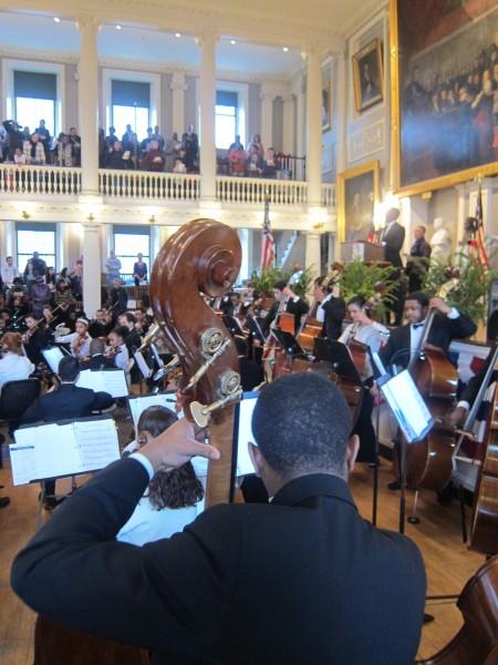 Musicians play at MLK service at Faneuil Hall. (Mikaela LeFrak/BU News Service)