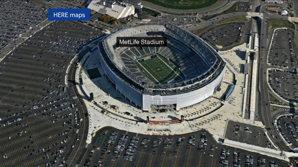 Aerial view of MetLife Stadium, home of Superbowl XVLIII. (CNN/HERE Maps)
