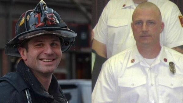 Firefighter Michael Kennedy, 33, of Hyde Park, left, and Lt. Edward J. Walsh, 43, of West Roxbury, perished battling a fire in the Back Bay.