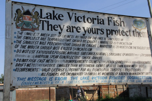 A sign from Lake Victoria Fisheries Organization