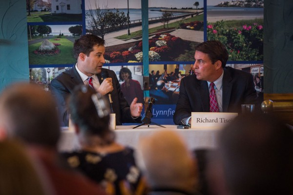 Massachusetts' 6th Congressional District candidate Seth Moulton (D)speaks at a debate hosted by the Lynn Area Chamber of Commerce at the Porthole Restaurant at 98 Lynnway in Lynn, Mass. (Photo by Jun Tsuboike/BU News Service)