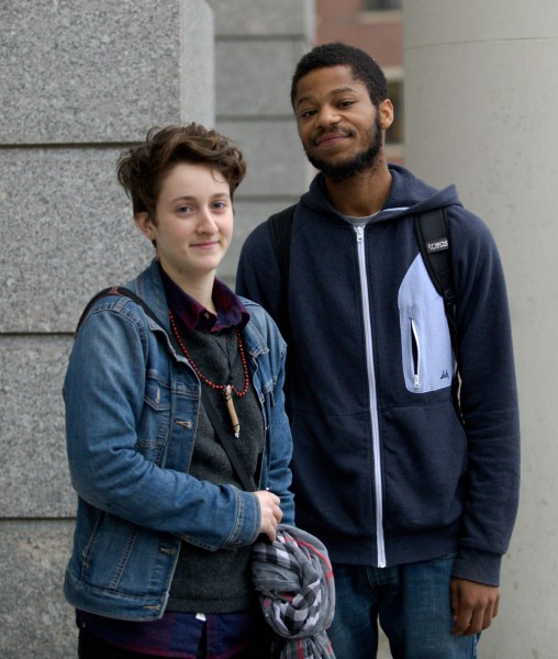 Leigh Hall, left, a theatre major at Emerson College, and Carlos Battle, a senior psychology major at Northeastern University, said police officers used excessive force against demonstrators against Ferguson decision. (BU News Service/Pankaj Khadka)
