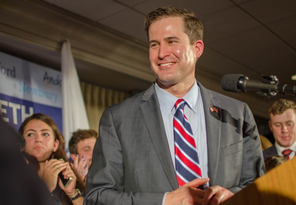 Salem, MA, USA. Seth Moulton smiles at his supporters while celebrating his win at the Salem Waterfront Hotel located  at 225 Derby Street in Salem, MA. Moulton beat Republican Richard Tisei in the 6th District U.S. House race. Photo by Kate Campbell/BUNS