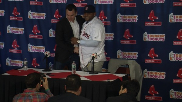 Ben Cherington welcomes Pablo Sandoval at his introductory press conference.