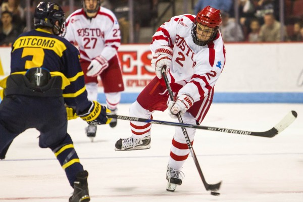 Ahti Oksanen scored 24 goals for BU in the 2014-15 season, his first as a forward.