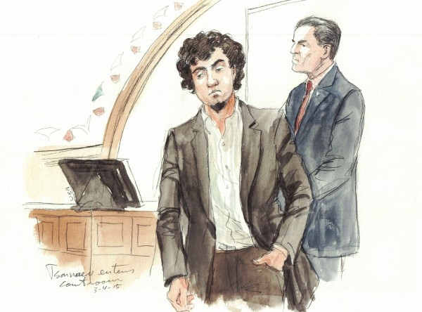 Dzhokhar Tsarnaev enters the Boston, Massachusetts courtroom on March 4, 2015, as the 2013 Boston Marathon bombing trial continues.
