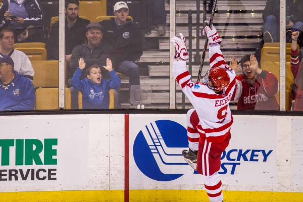 Jack Eichel scored two third period goals to seal the win for the Terriers