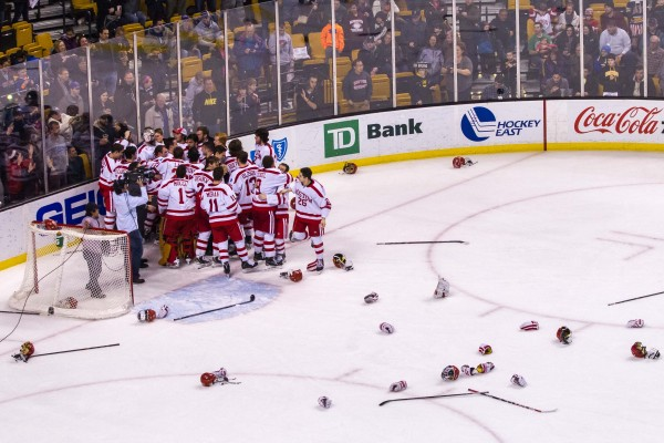 BU won its first Hockey East title Saturday night to guarantee its first trip to the NCAA Tournament since 2012