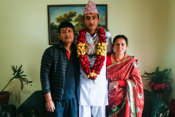 My brother, Paras, stands with my father, Mohan, and my mother, Rita, during one of the ceremonies as a part of Paras' wedding earlier this year.