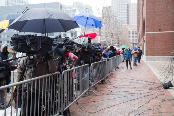 Boston. April 8, 2015. Media await a verdict outside the John Joseph Moakley Courthouse in the trial of Boston Marathon bomber Dzhokhar Tsarnaev.  (Haiyun Jiang/BU News Service)