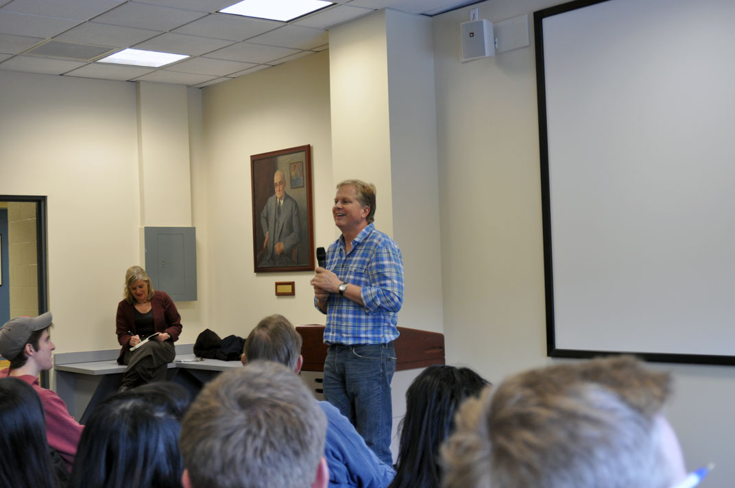 Image: Tom Ashbrook, host of WBUR's On Point radio show talks to students at the BU School of Communication on Wednesday, Feb. 21. He discussed his career and the art of interviewing. (Photo by Brittnee Exum/BU News Service)