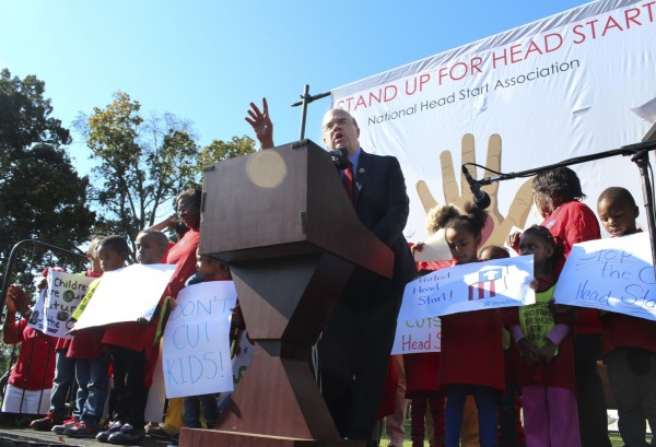 IMAGE: Congressman Jim McGovern (D-Mass) speaks to a crowd rallied outside the Capitol on Oct. 2, 2013, urging the government to halt spending cuts to the Head Start Program. (Photo: Taylor Hartz, BU News Service)
